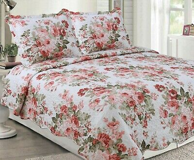 Rich Printed Luxury Soft Reversible 3 Pieces Quilt Set with 2 Quilted Shams