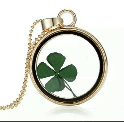 Four Leaf Clover Shamrock Real Flower Necklace Gold Plated Jewelry Lucky 331