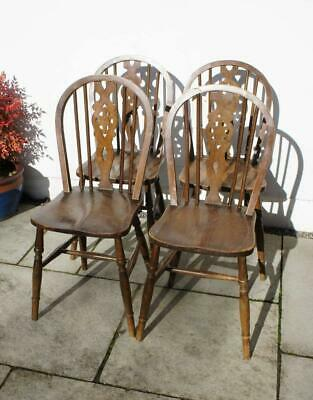 Set 4 mid 20th century wheel back Windsor kitchen chairs in Ash & Beech