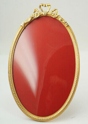 Antique Metal Frame, Bronze, Gold Plated, Domed Glass, Oval, 22x14 Cm. (H35)