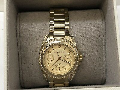 ccd795d90189 Michael Kors MK5639 Ladies Mini Blaid Gold Tone Chronograph Designer Watch  w Box