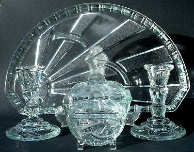 Scarce Art Deco Translucent Blue Pressed Glass Sunburst Trinket Set Sowerby