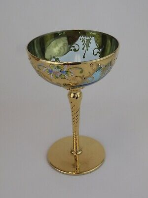 MURANO VENETIAN Vintage Italian Aqua Turquoise 22K Gold Floral Compote