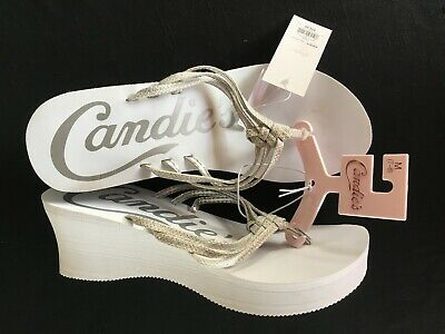 5599dc667d8e3 Preowned Women s Candie s Wedge Flip Flop Thong Sandals White Size M 7-8