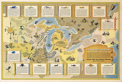 Map Great Lakes Region Native American Indian Tribes Ta-Non-Ka's Wall Poster