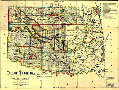 1889 Indian territory Map Native American Lands Wall Art Poster Print History