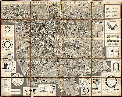 1823 Rome Italy Topographic Map -Mappa di Roma- Historical Vintage Wall Poster