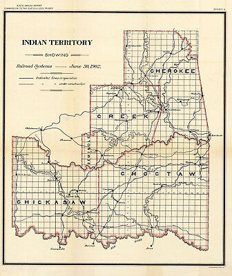 1902 Map Indian Territory Railroad Systems Oklahoma Native American Wall Print