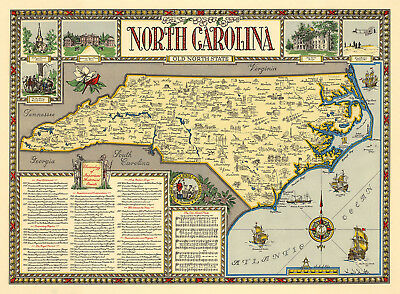 Pictorial Map of North Carolina Old North State Historical Wall Poster Vintage