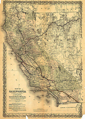1876 Railroad Map of California including Nevada Wall Art Poster Vintage History