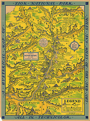 Pictorial Map of Mount Rainier National Park Wall Art Poster Print Decor History