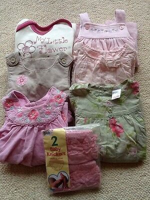 BABY GIRLS BUNDLE OF 8 PIECES OF CLOTHES, 1mth To 6-12mth, MIXED SIZES VGC.