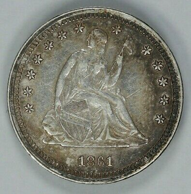 1861 Seated Liberty Quarter 25C Choice Xf Fine / Au About Unc - Civil War (9083)