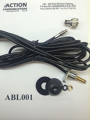 GME ABL001 5/16th Antenna Base and 4.5m lead with plug AM or UHF CB radio