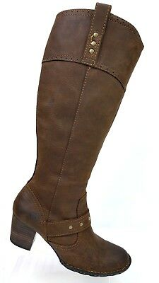 3208ae519353 Born Brown Oiled Leather Knee High Studded Harness Mid Zip Riding Boots  Women 9M