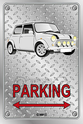 Parking Sign Metal VINTAGE Mini Racing White - Checkerplate Look