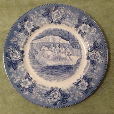 "Vintage Staffordshire Confederate Memorial Plate 10"" Blue England Alfred Meakin"