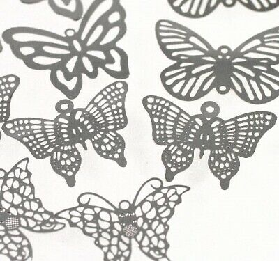 12 Lazer Lace Silver Plated Brass Filigree Butterfly Mix *