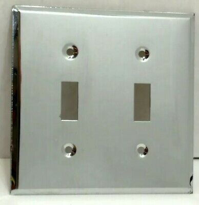 Vintage Double Light Switch Plate Chrome Metal Edmar Creation Mirrored NOS SR7