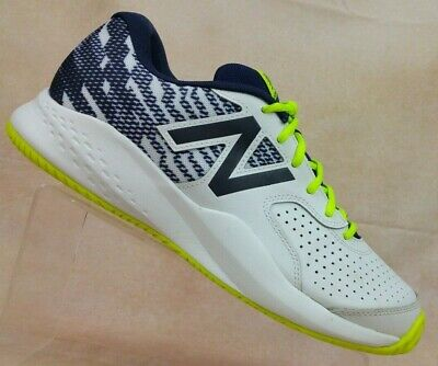 4cb0fb525d42 New Balance 696 White Navy Leather Tennis Shoes Sneakers Men s 9.5 (4E) Wide