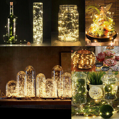 2M 20 LED Wine Bottle Light Cork Starry Fairy String Night Lamp Xmas Wedding UK