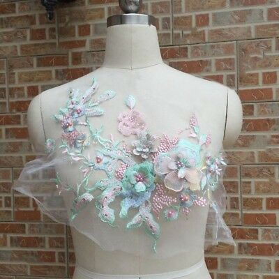 1PC 3D Flower Embroidery Lace Bridal Applique Beaded Pearl Tulle DIY Dress Nice