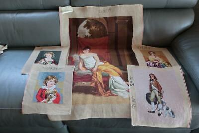 5 x Lovely Completed Wool Tapestry Squares - Large & Small - Ready To Frame