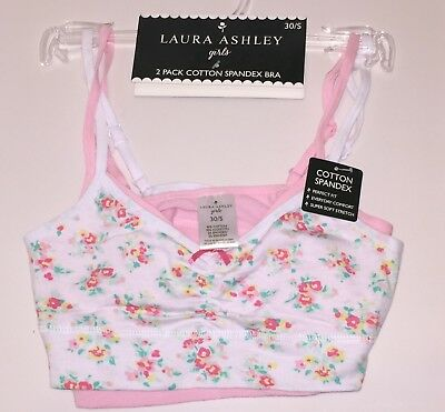 b14d766ad1 2 Pack Laura Ashley Girls Cotton Spandex Bras Size 30 s Flower Print pink