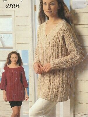 Ladies Knitting Patterns 8 Ply Copy CABLE Sweater includes larger sizes