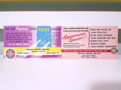 Set of 4x Keller Motor Service Reminder Cards! Vintage Advertisement Cards!