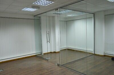 Glass Office Partition System 10mm Toughened Glass 2440mm High X 900mm Wide