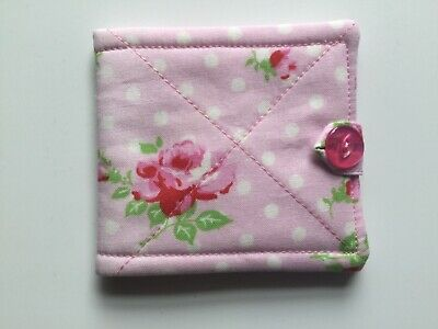 needlecase fabric Pink floral Felt page inside Gift Present Needles Book New