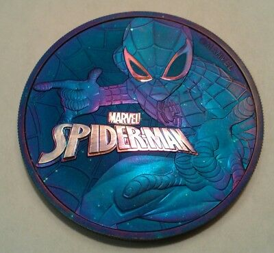 2017 Tuvalu marvel spiderman 1oz silver coin , awesome toned. Toned 🤘.