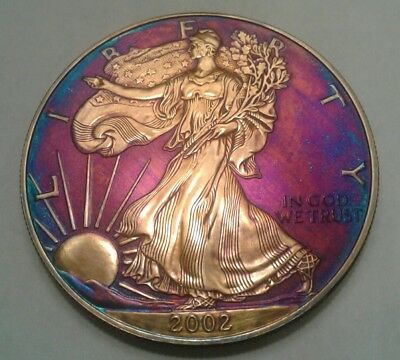 2002 - american silver  eagle dollar with beautiful toning, TONED $ MUST SEE $.
