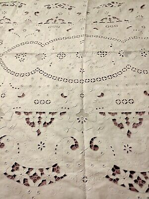 """GORGEOUS Antique Madeira Hand Embroidered & Cutwork 77 by 98"""" Banquet Tablecloth"""