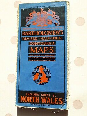 1920s Bartholomews cloth Map of North Wales