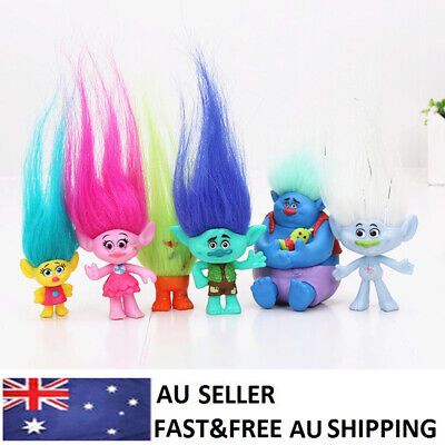 Trolls Poppy Branch Movie Action Figure Dolls Kids Gifts Toys Cake Topper 6 PCS