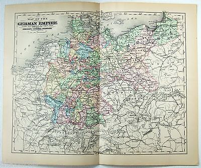 Original 1896 Copper-Plate Map of The German Empire by A. J. Johnson, Antique