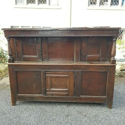 An Old Antique 18TH Century Oak Deuddarn Welsh Court Cupboard Lots of Character