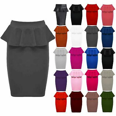 New Womens Ladies Fit Ponte Soft Bodycon Frill Peplum Pencil Stretch Midi Skirt