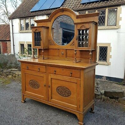 A Stunning Early 20th Century Oak Arts & Crafts Style Mirror Back Sideboard