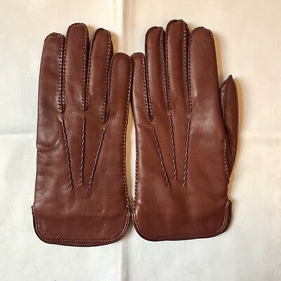 Vintage Dents Nut Brown Leather Gloves, Wool Lined, Warm. Worcester Made. New