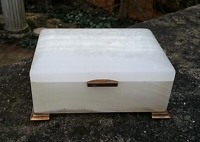 Antique English Art Deco Period Onyx & Gilt Hinge Box By Betjemann & Sons