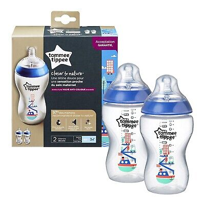 ⭐️NEW Tommee Tippee Decorated 2 x Bottles Blue Boys Closer to Nature 340ml