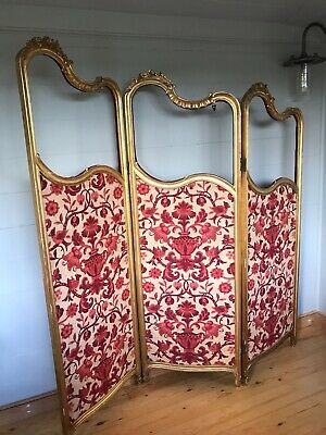 Antique French Gilt Wood Three Fold  Waterfall Screen / Room Divider / Prop