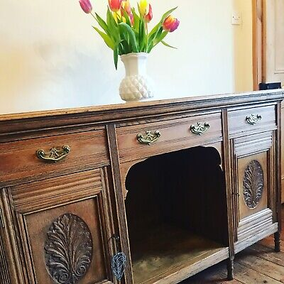 Antique Vintage English Oak Dresser Base Sideboard in the Art Nouveau style