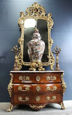 22B Complete Set ! Large 18thC Vase, Signed Louis XV Commode, Candelabra, Mirror