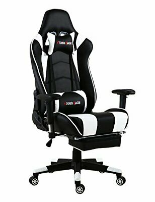 Storm Racer Grande Taille Racing Chaise de Gaming Dossier Haut (Blanc-s)
