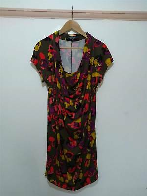 Paul Smith Black Label Khaki Poppy Print Cowl Neck Jersey Dress Size M UK 12