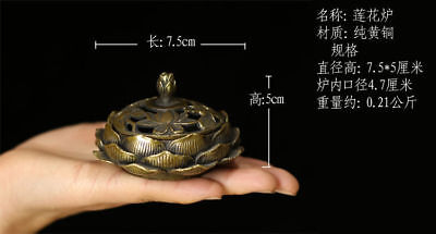 Chinese old antique brass statue hand made lotus Incense Burners A3